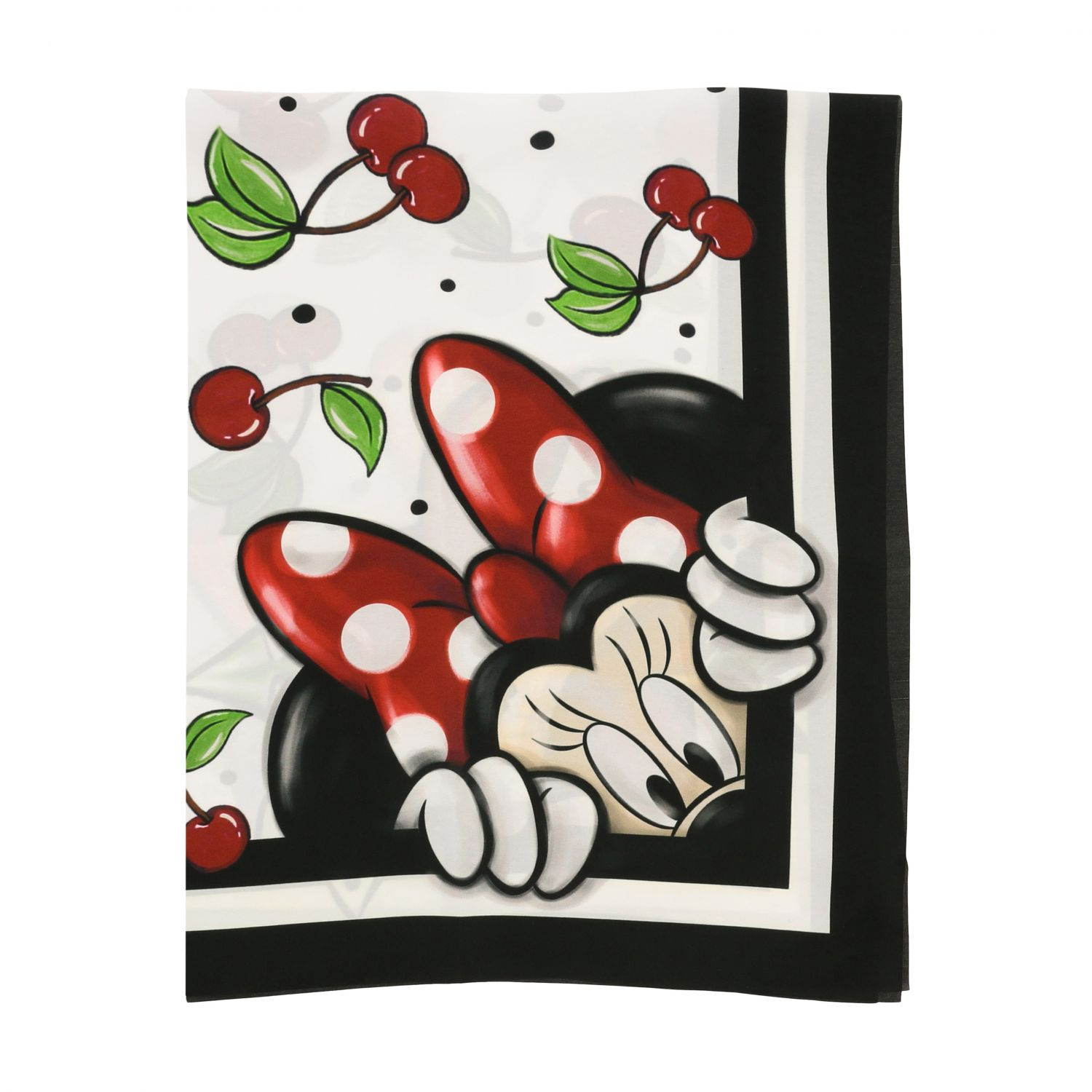 Neck scarf Monnalisa: Monnalisa scarf with cherry and Mickey Mouse print white 1