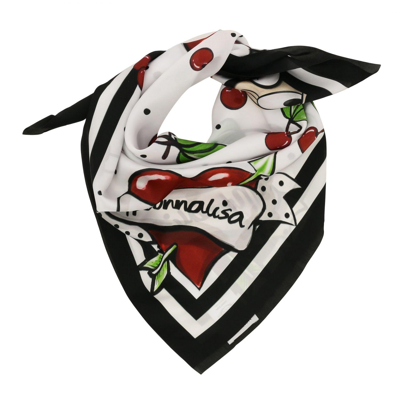 Monnalisa 樱桃米妮老鼠印花丝巾 白色 2