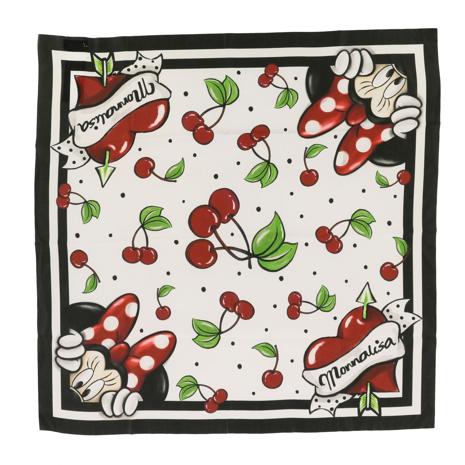 Neck scarf Monnalisa: Monnalisa scarf with cherry and Mickey Mouse print white 3