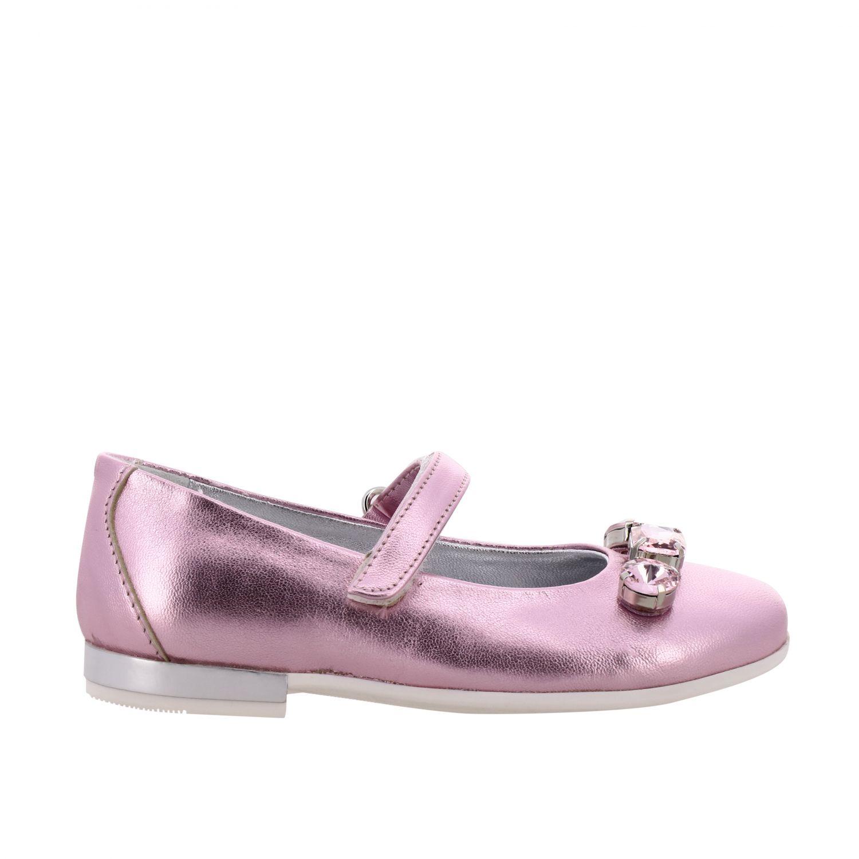Monnalisa 水钻装饰金属感真皮芭蕾舞鞋 粉色 1