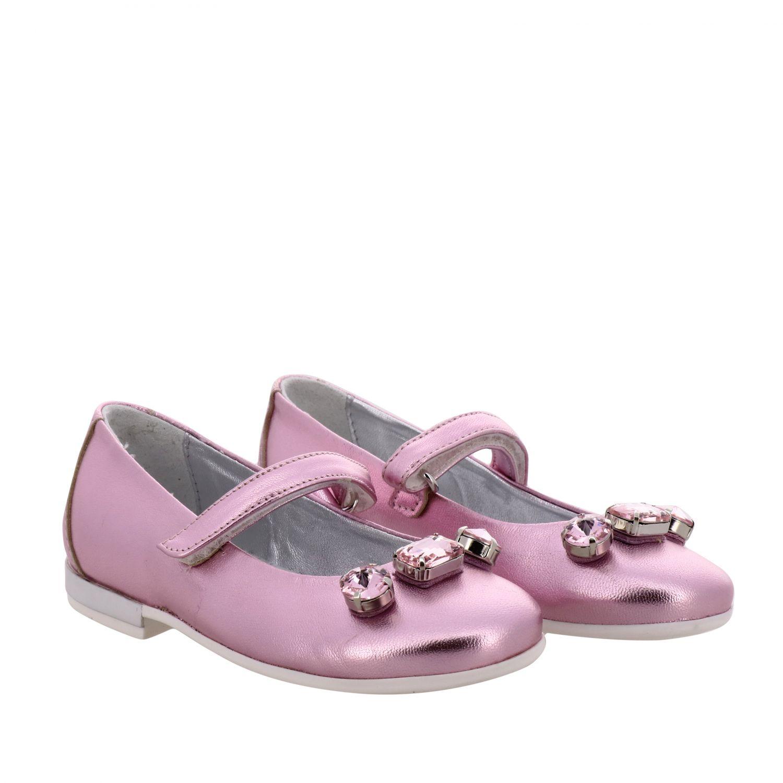 Monnalisa 水钻装饰金属感真皮芭蕾舞鞋 粉色 2