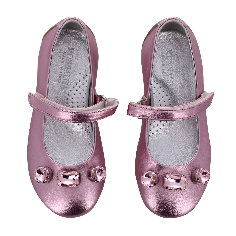 Monnalisa 水钻装饰金属感真皮芭蕾舞鞋 粉色 3