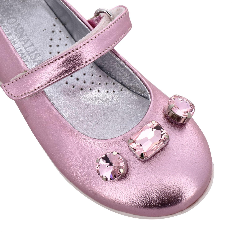 Monnalisa 水钻装饰金属感真皮芭蕾舞鞋 粉色 4