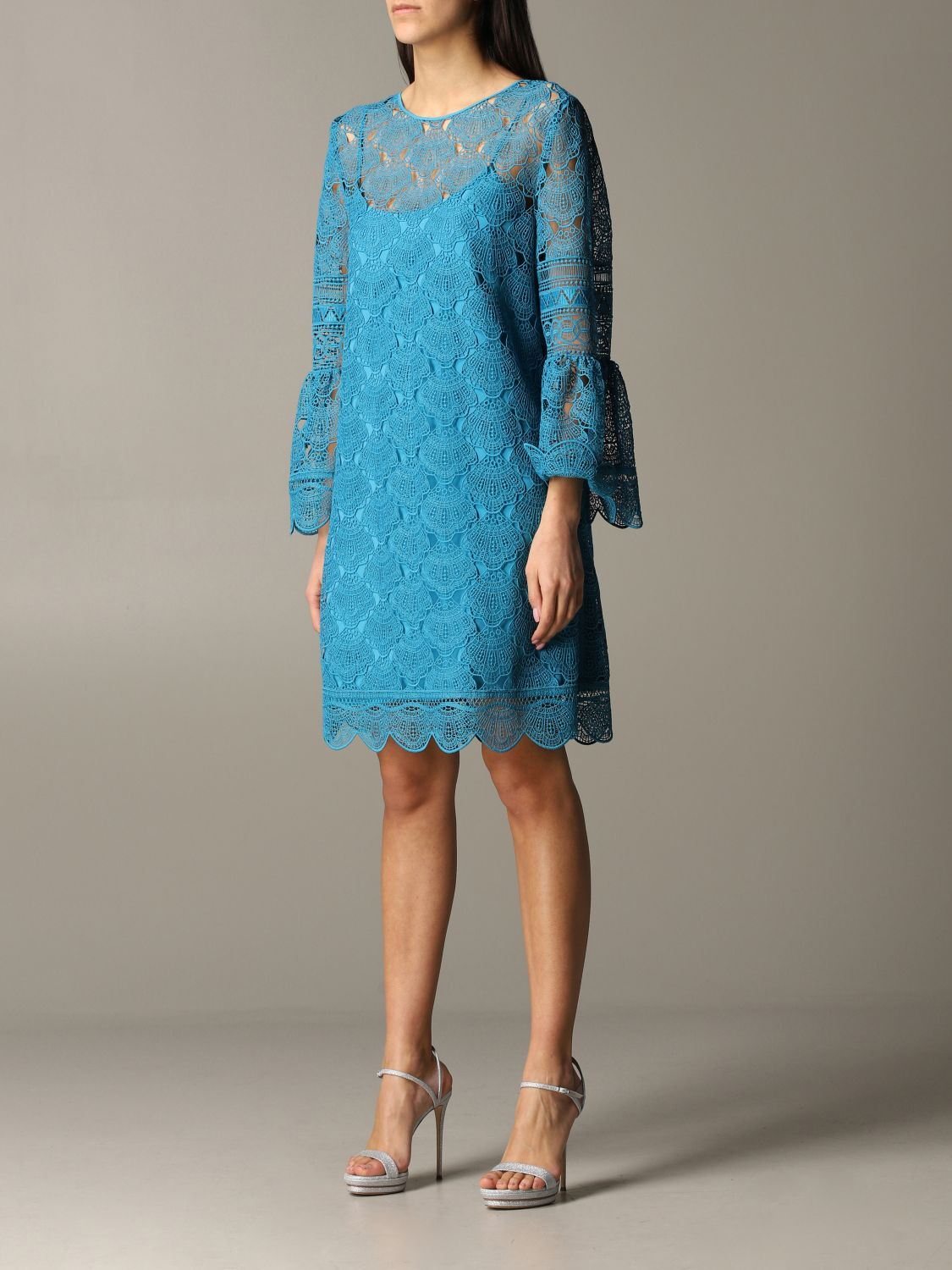 Dress Alberta Ferretti: Dress women Alberta Ferretti gnawed blue 3