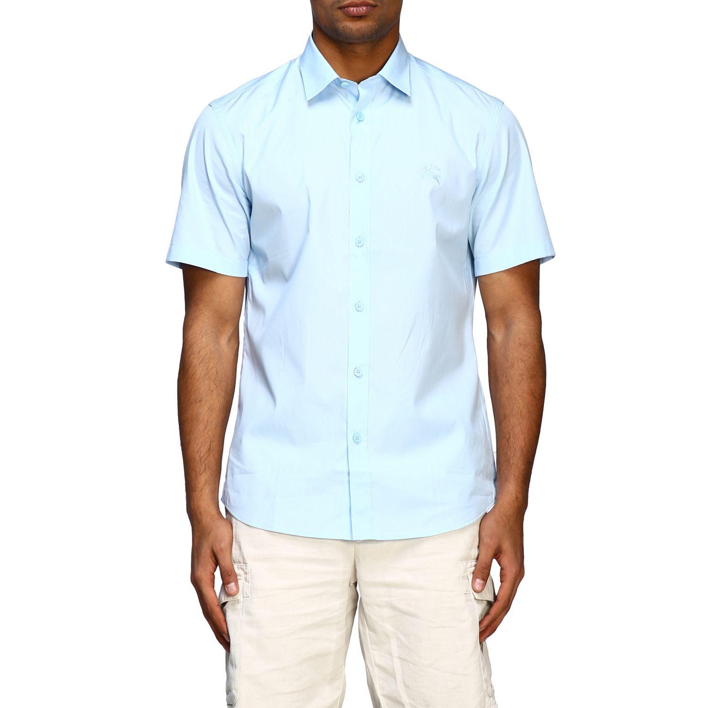 Camicia Burberry basic a maniche corte con logo ricamato celeste 1