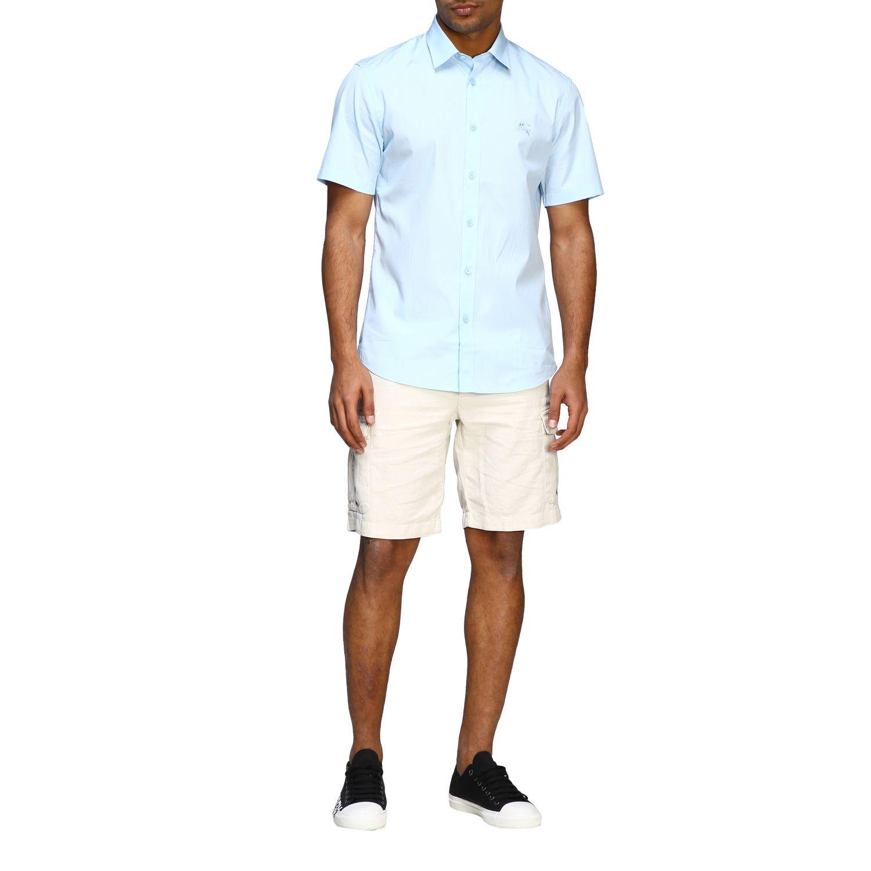 Camicia Burberry basic a maniche corte con logo ricamato celeste 2