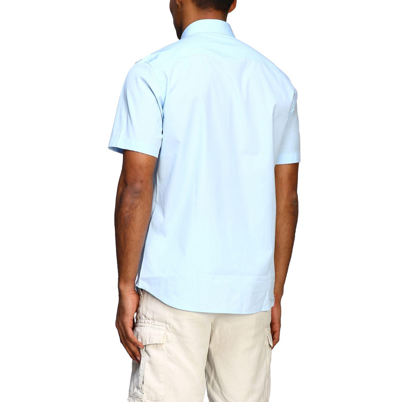 Camicia Burberry basic a maniche corte con logo ricamato celeste 3