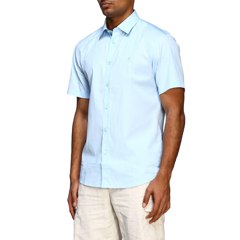 Camicia Burberry basic a maniche corte con logo ricamato celeste 4