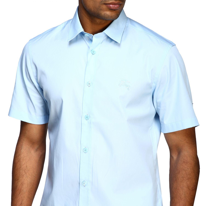Camicia Burberry basic a maniche corte con logo ricamato celeste 5