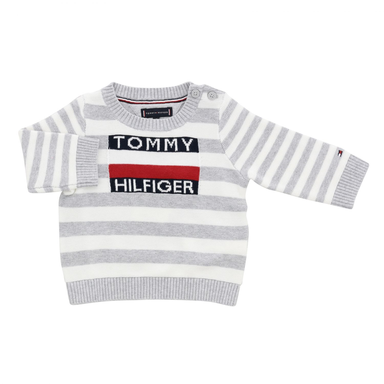 Tommy Hilfiger 条纹logo圆领上衣 灰色 1