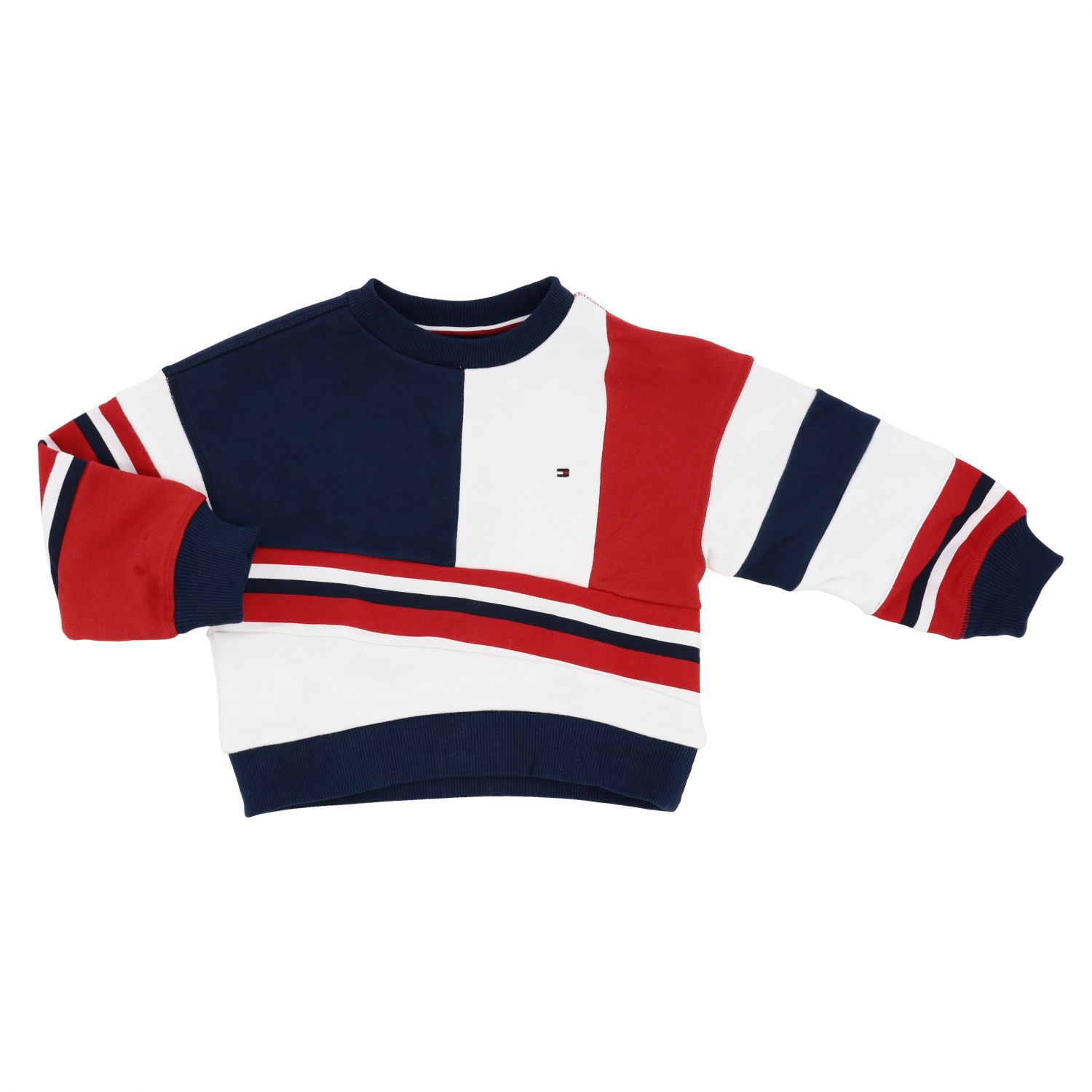 Tommy Hilfiger crewneck sweater in cotton with bands white 1
