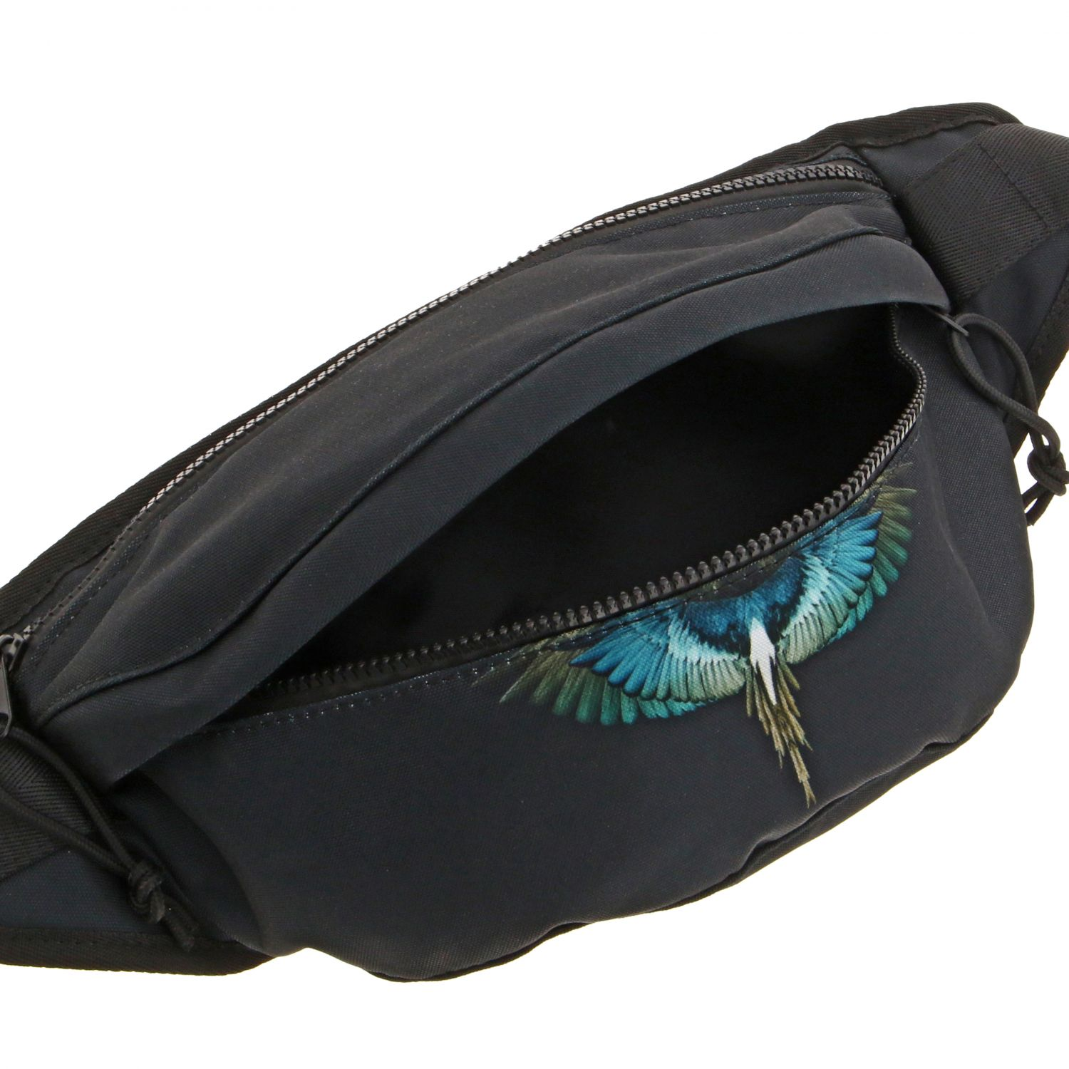 Marcelo Burlon fanny pack in nylon with feather print black 4