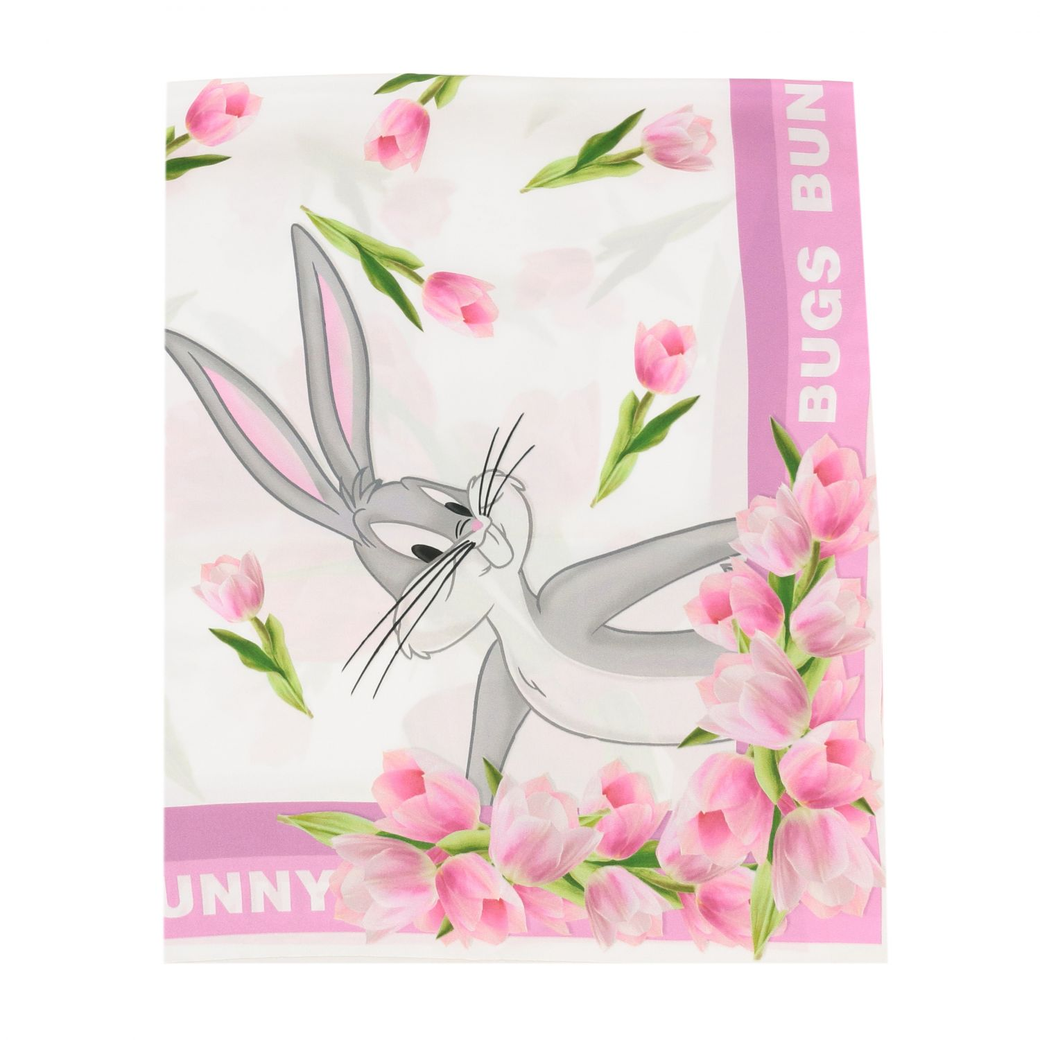 Neck scarf Monnalisa: Monnalisa floral patterned scarf with Bugs Bunny white 1