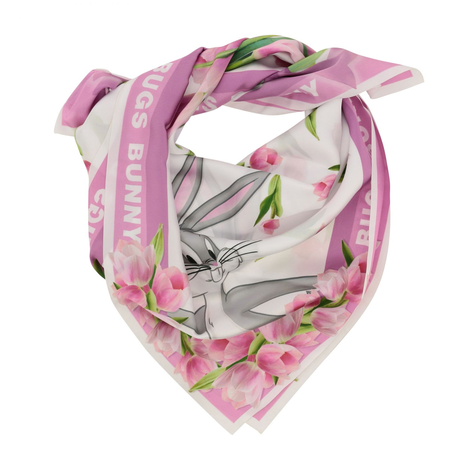 Neck scarf Monnalisa: Monnalisa floral patterned scarf with Bugs Bunny white 2