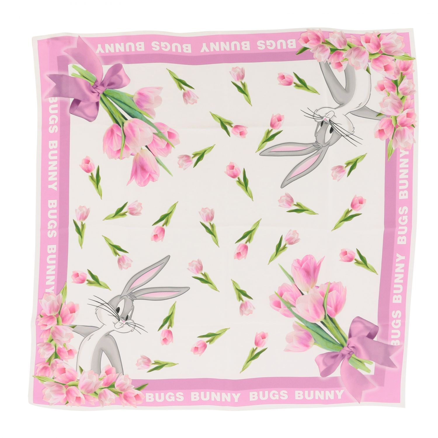 Neck scarf Monnalisa: Monnalisa floral patterned scarf with Bugs Bunny white 3