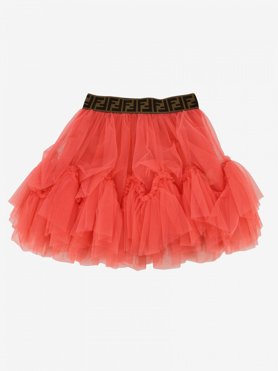 Jupe en tulle Fendi avec bande FF all over fraise 1