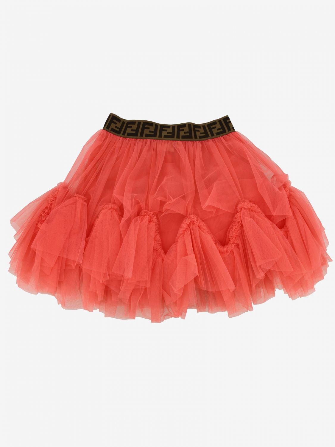 Jupe en tulle Fendi avec bande FF all over fraise 2
