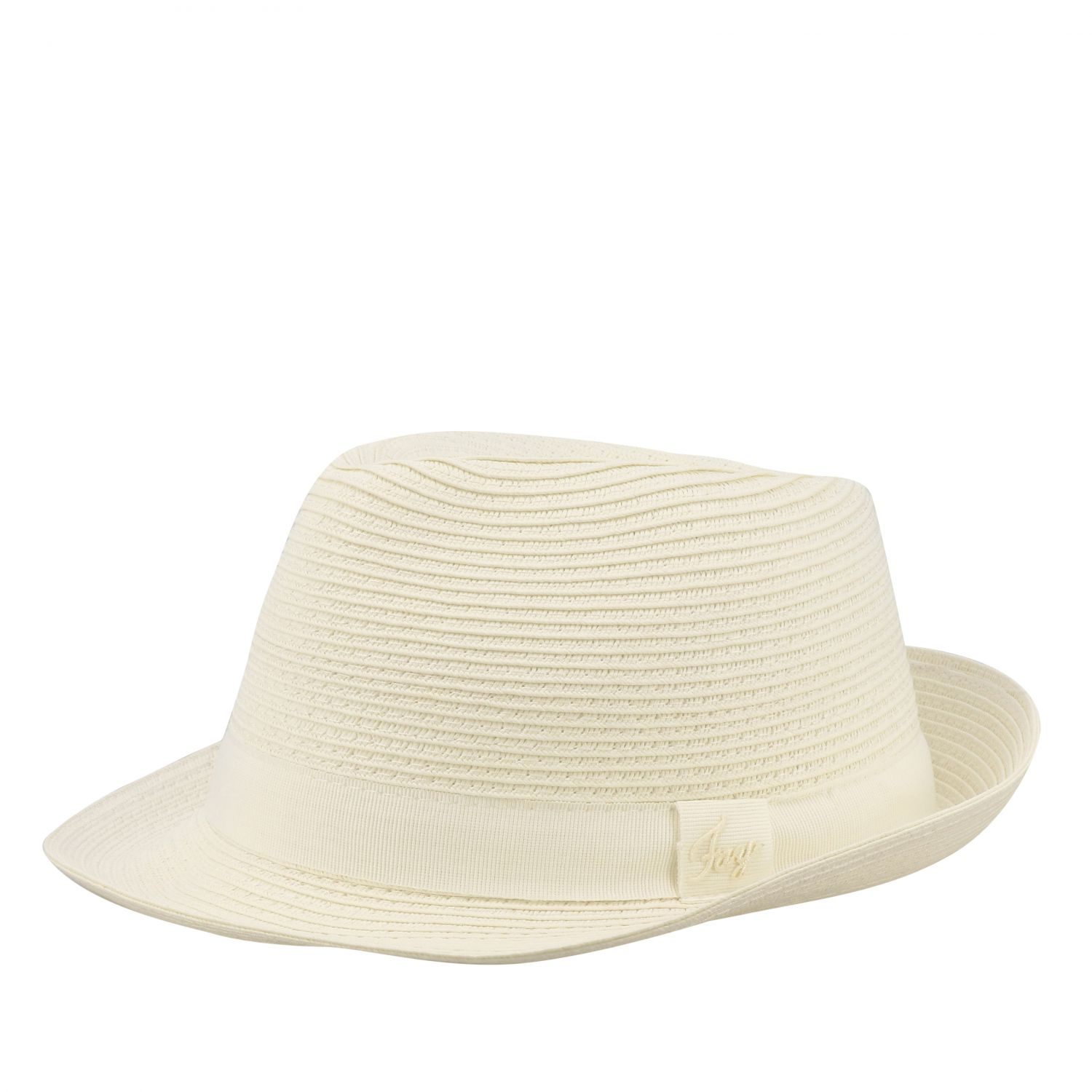 Hat Fay: Straw Fay hat with ribbon white 1