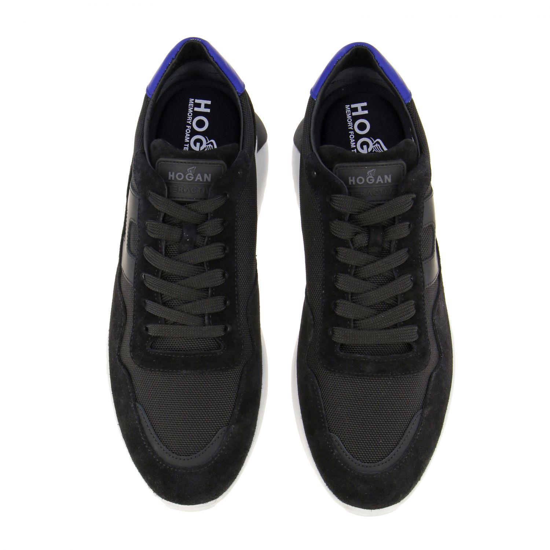 Sneakers Hogan in camoscio e tela con big H nero 3