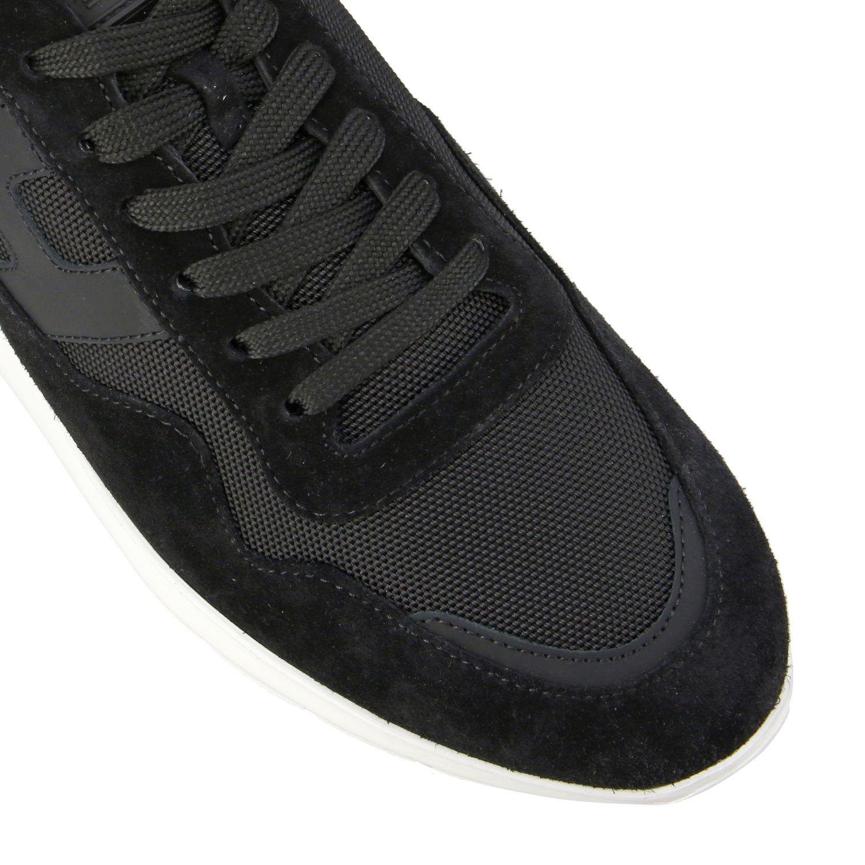 Sneakers Hogan in camoscio e tela con big H nero 4