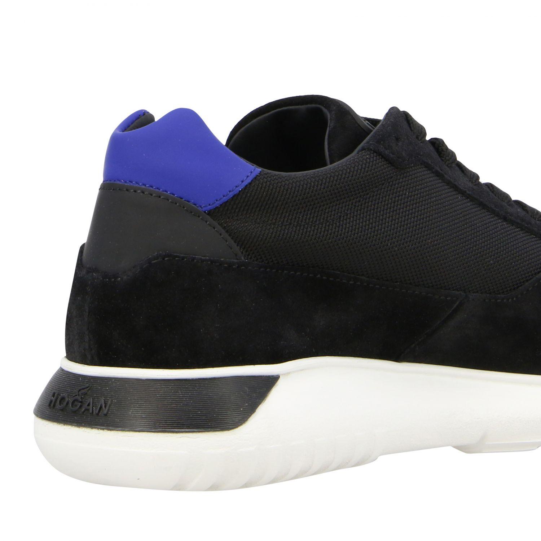 Sneakers Hogan in camoscio e tela con big H nero 5