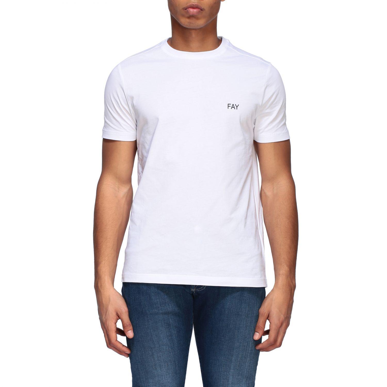 T-shirt Fay a girocollo con logo bianco 1