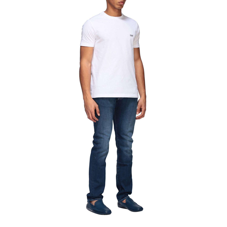 T-shirt Fay a girocollo con logo bianco 2