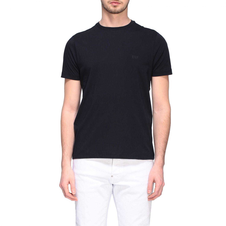 T-shirt Fay a girocollo con logo petrolio 1