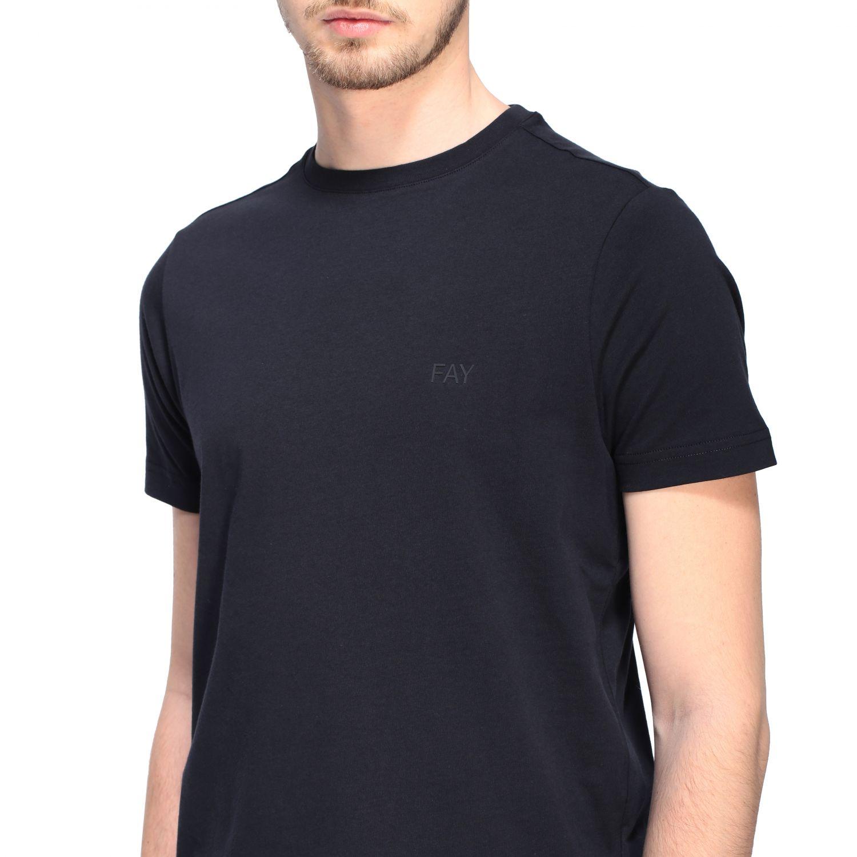 T-shirt Fay a girocollo con logo petrolio 5