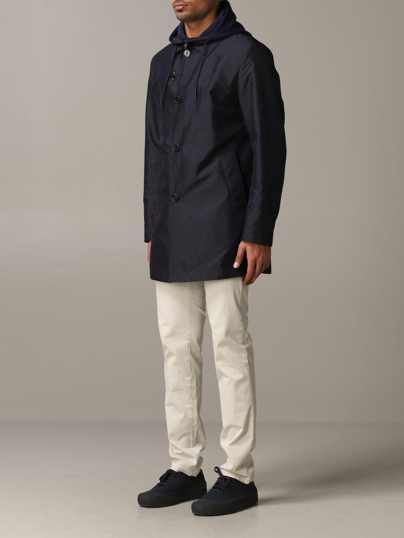 Trench Fay: Trench-coat droit à capuche Fay bleu 4