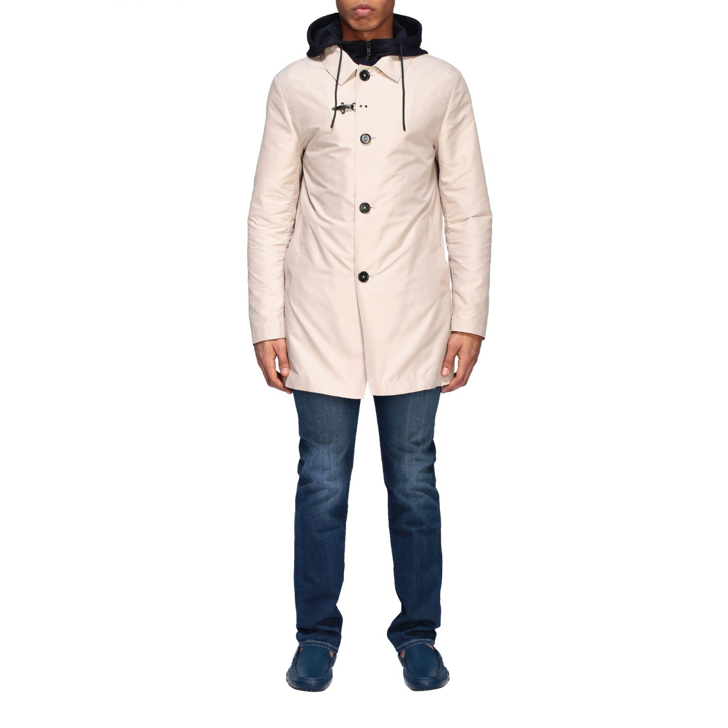 Trench Fay: Trench-coat droit à capuche Fay crème 1