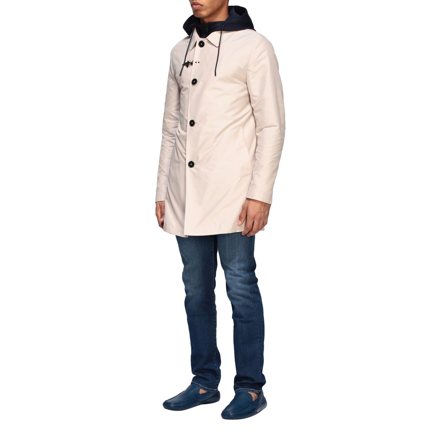 Trench Fay: Trench-coat droit à capuche Fay crème 3