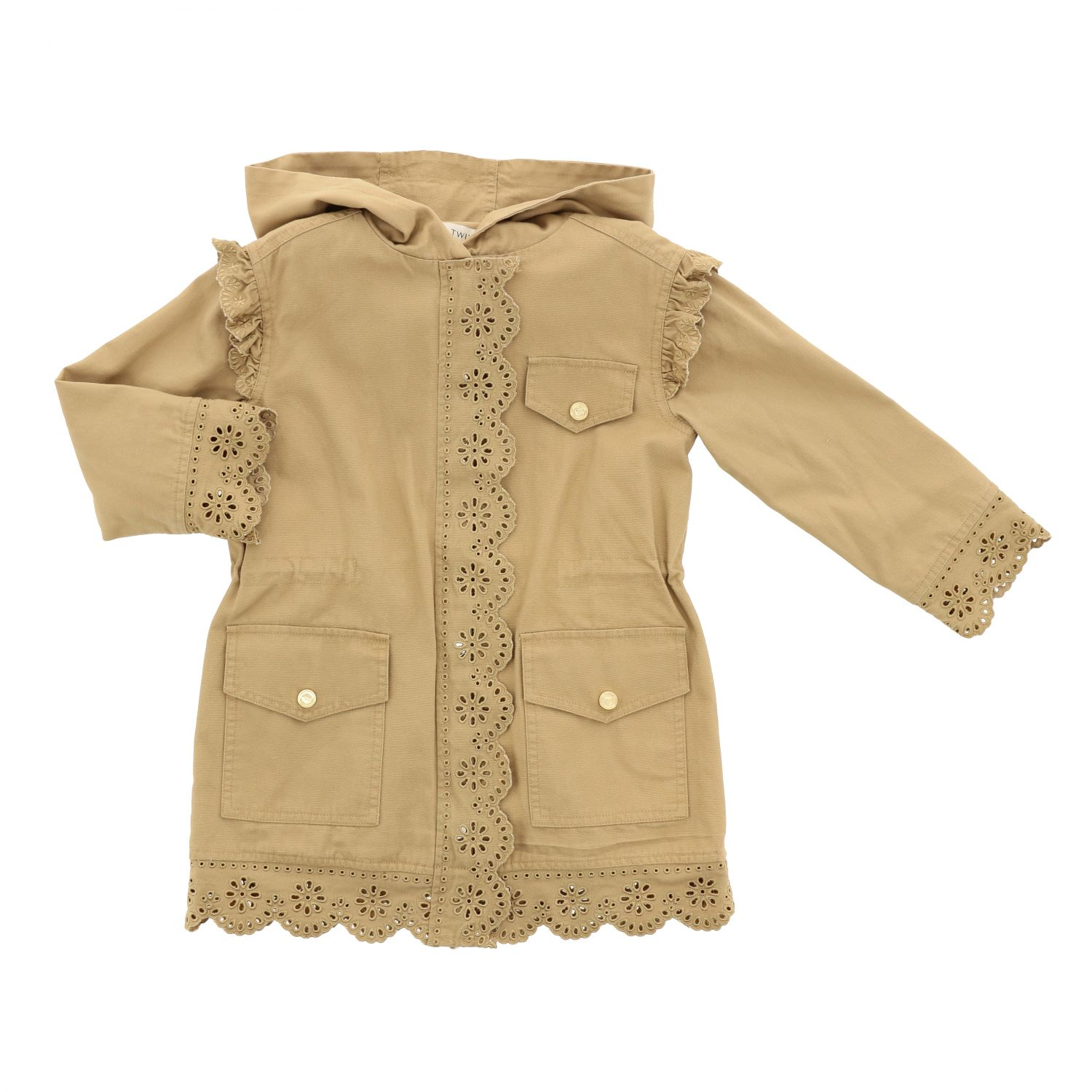 Twin-set coat with hood and embroidered edges camel 1