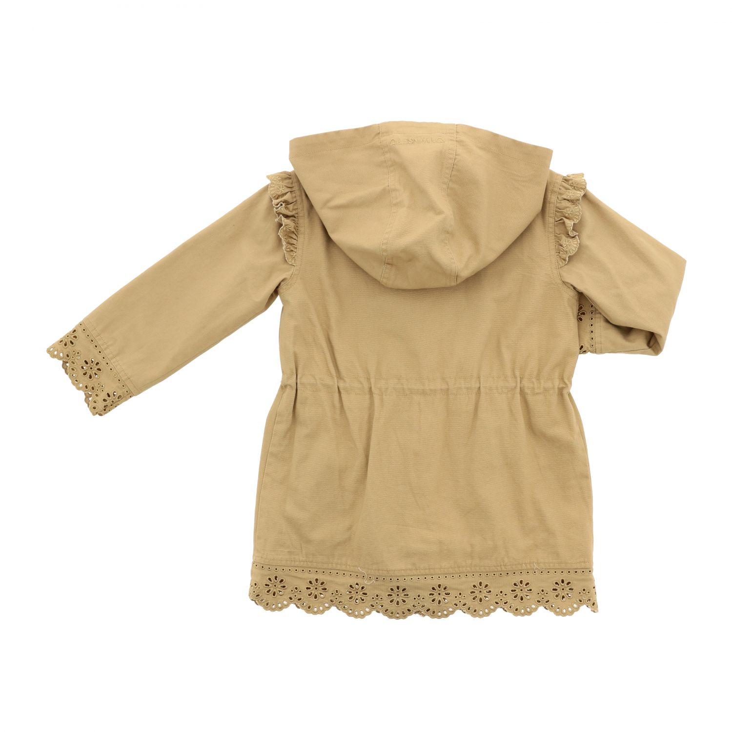 Twin-set coat with hood and embroidered edges camel 2