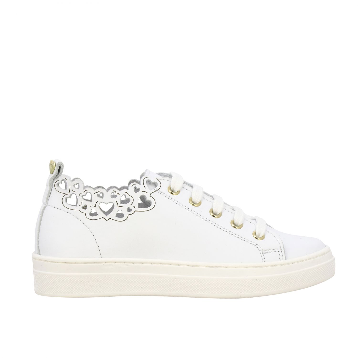 Twin-set leather sneakers with laser-effect hearts white 1