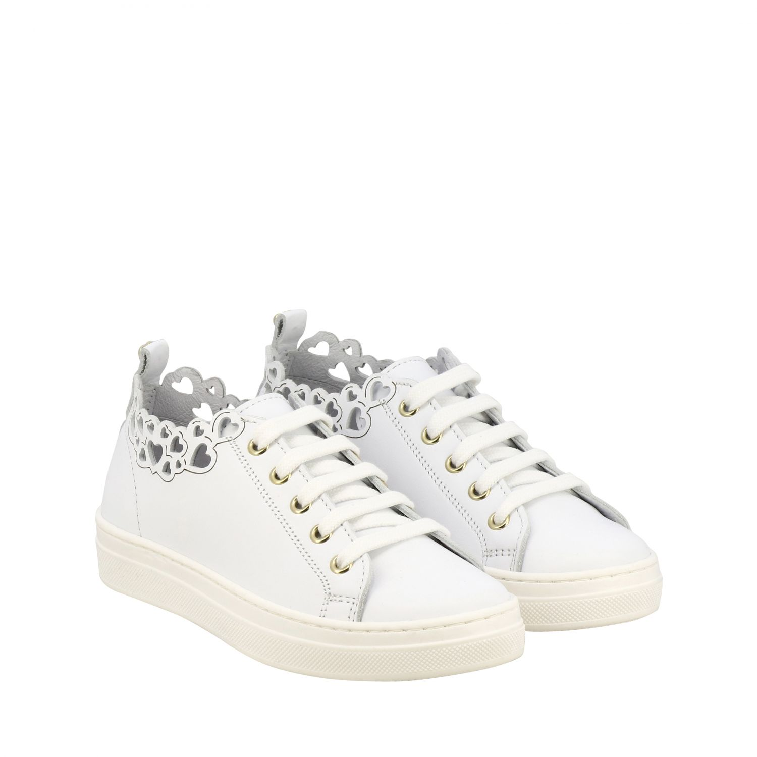 Twin-set leather sneakers with laser-effect hearts white 2
