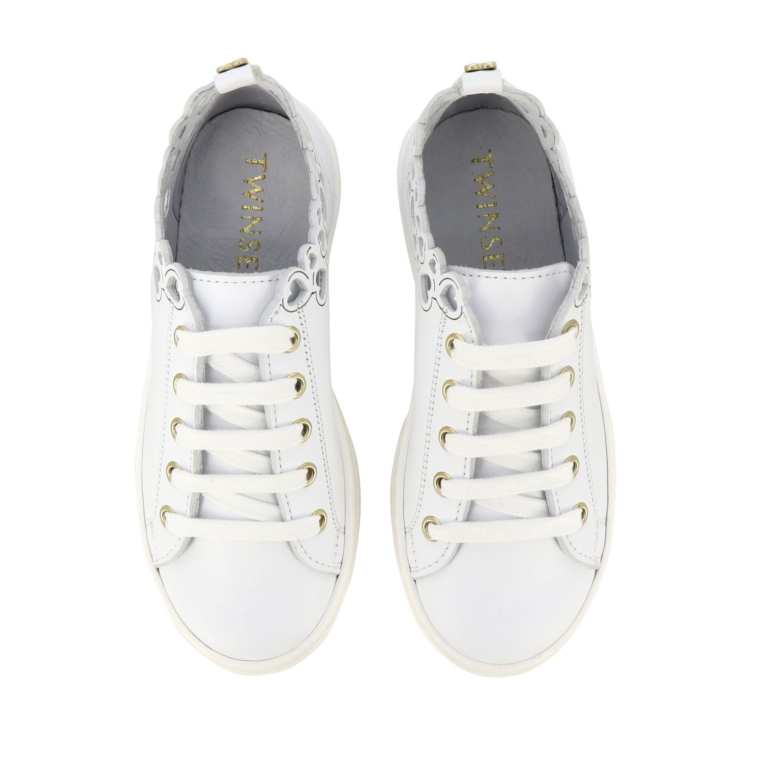 Twin-set leather sneakers with laser-effect hearts white 3