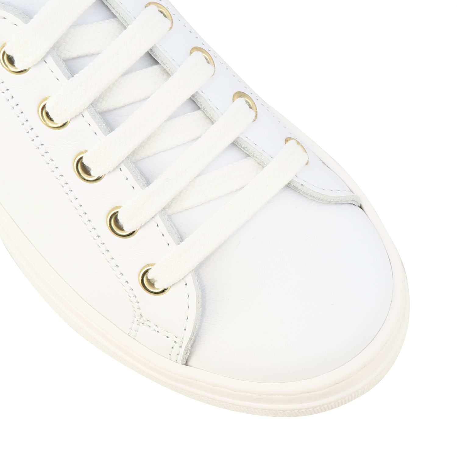 Twin-set leather sneakers with laser-effect hearts white 4
