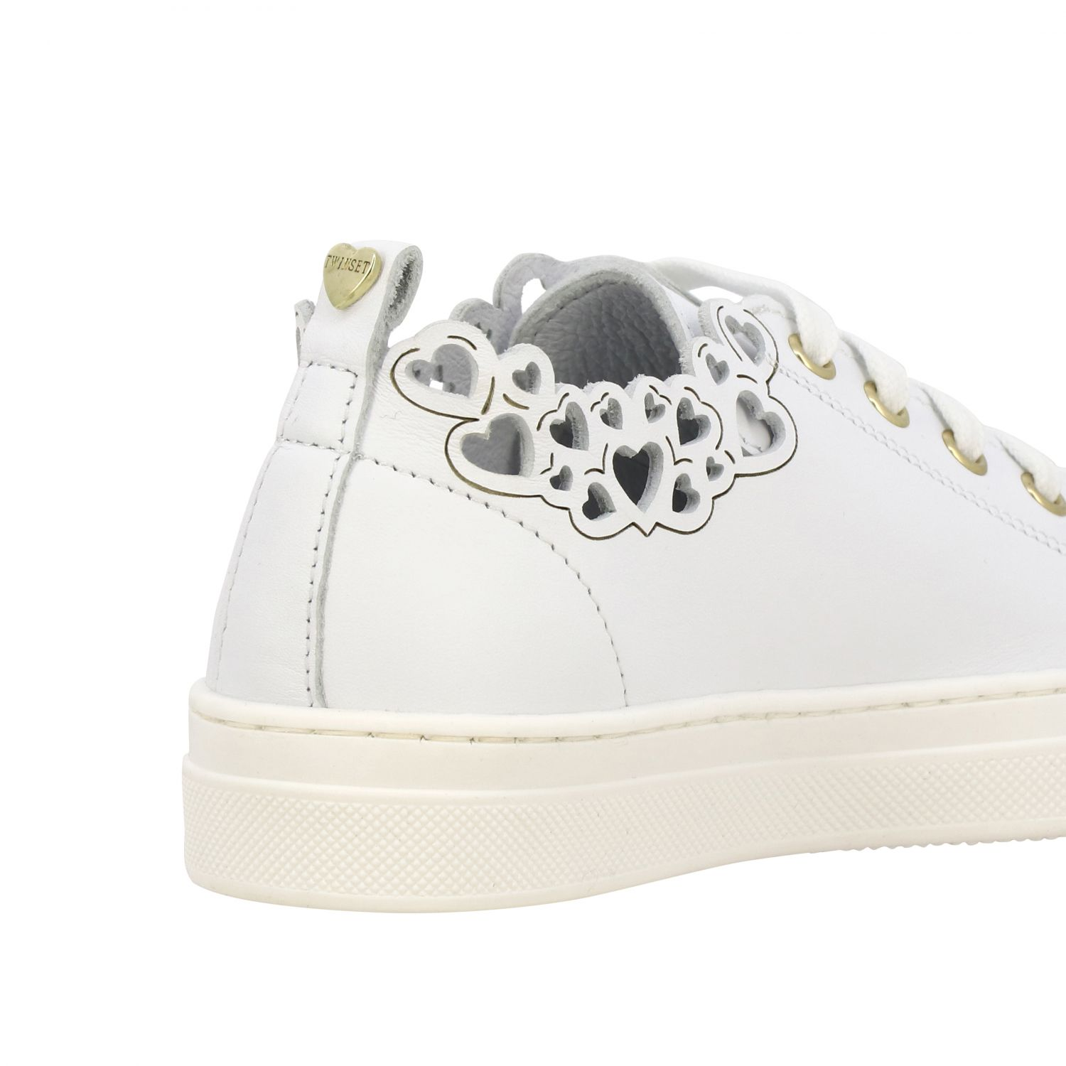 Twin-set leather sneakers with laser-effect hearts white 5