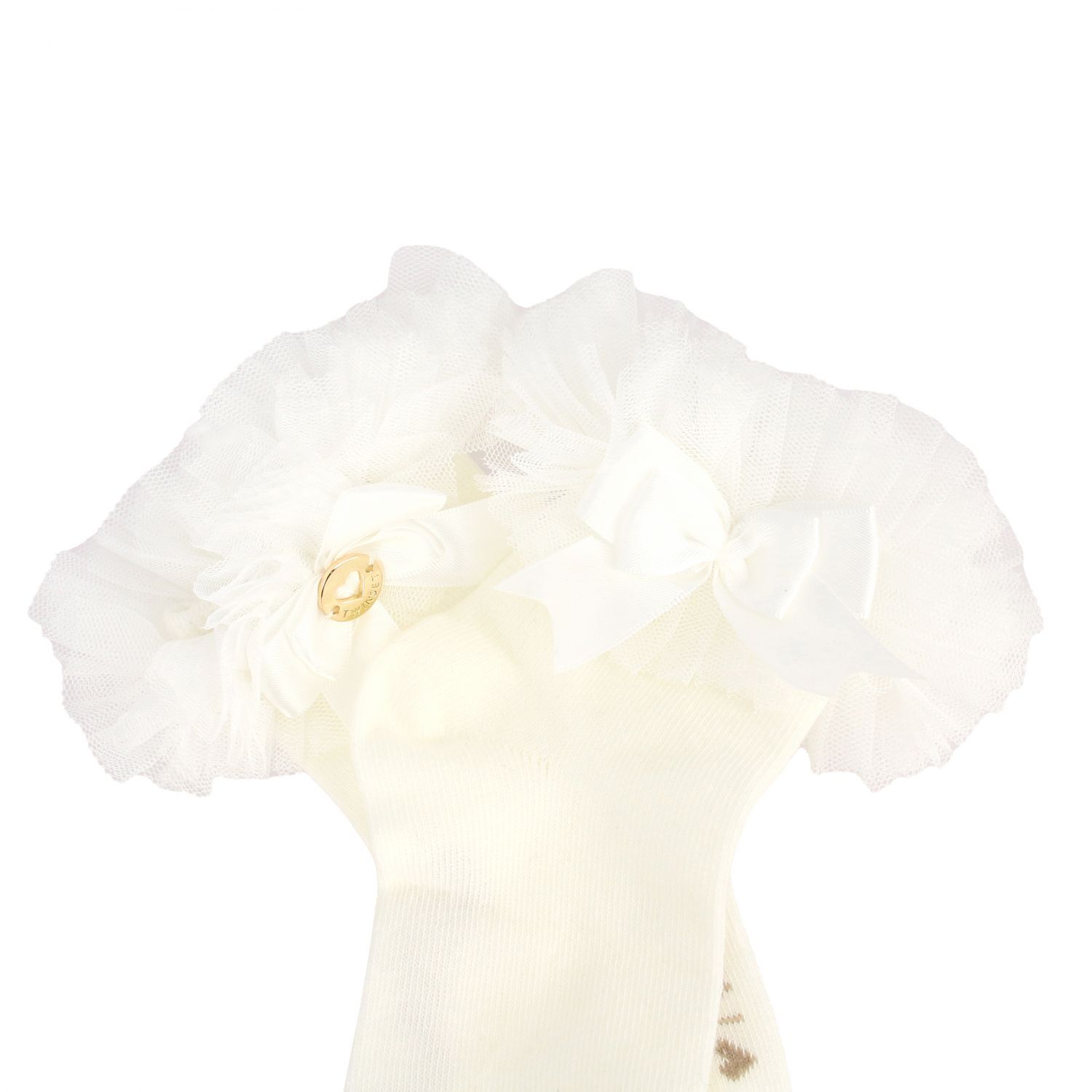 Twin-set cotton socks with bow and tulle ruffles white 2
