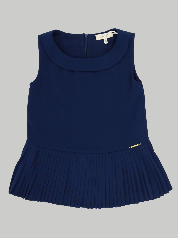 Блузка Twin Set: Блузка с рюшами к низу Детское Twin Set синий 1
