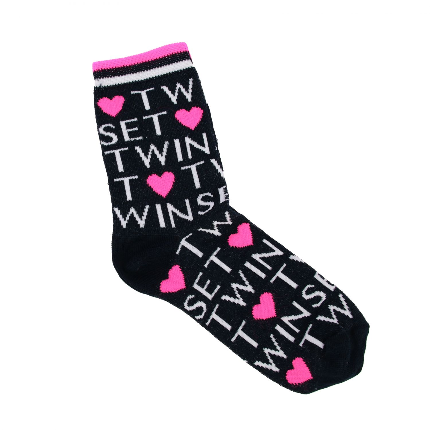 Twin-set socks with all-over logo blue 1