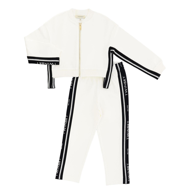 Completo felpa + pantalone Twin-set con bande logate nero 1