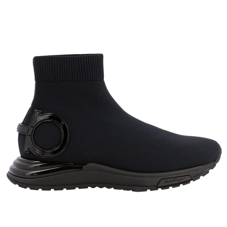 Sneakers Salvatore Ferragamo in tessuto tecnico con gancio mediterraneo nero 1