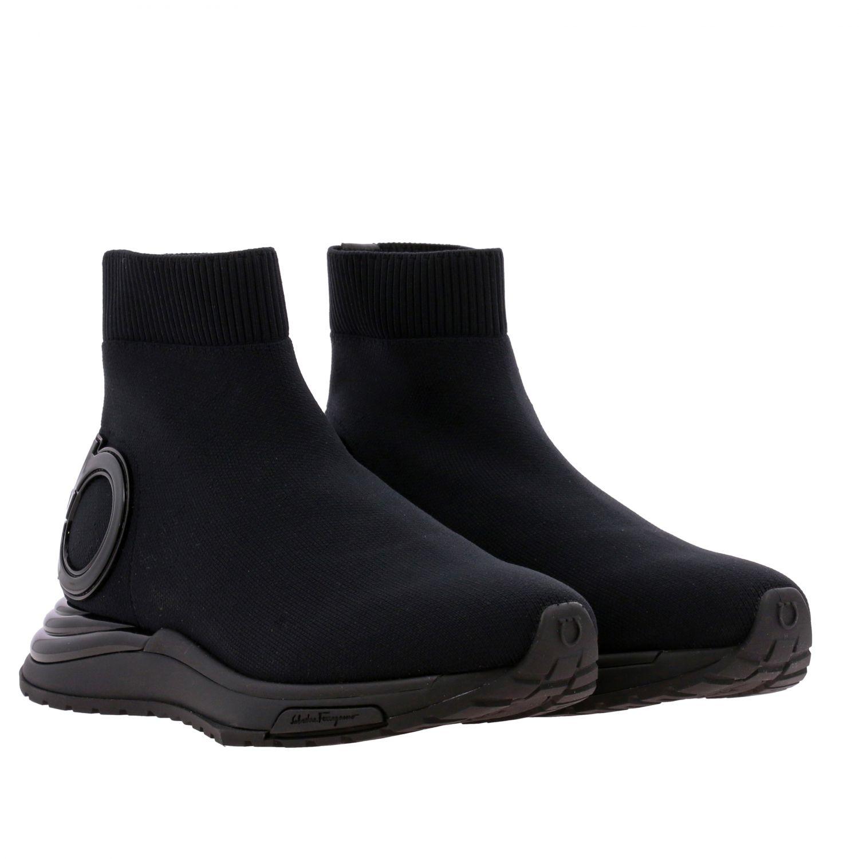 Sneakers Salvatore Ferragamo in tessuto tecnico con gancio mediterraneo nero 2
