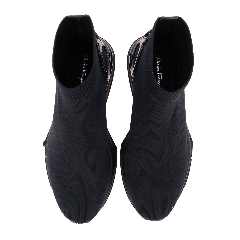 Sneakers Salvatore Ferragamo in tessuto tecnico con gancio mediterraneo nero 3