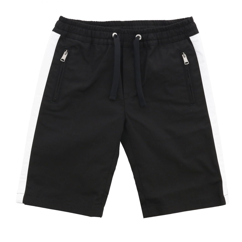Pantaloncino Dolce & Gabbana: Pantaloncino Dolce & Gabbana con coulisse e bande colorate nero 1