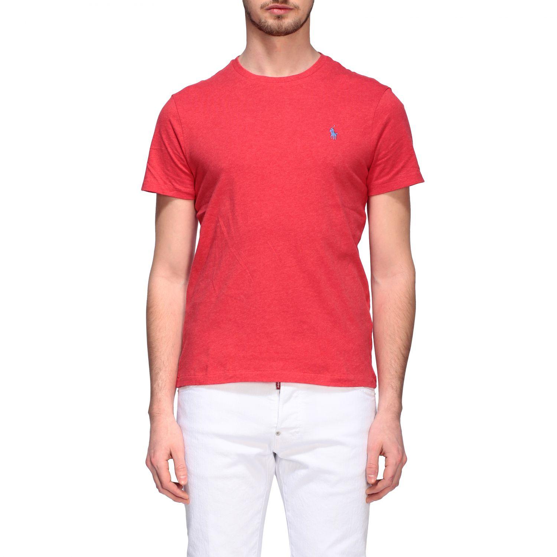 T-shirt Polo Ralph Lauren a girocollo con logo rosso 1