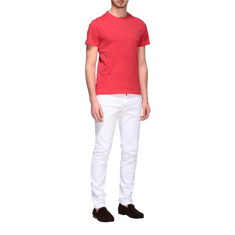 T-shirt Polo Ralph Lauren a girocollo con logo rosso 2