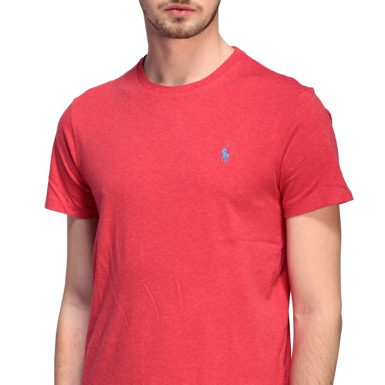 T-shirt Polo Ralph Lauren a girocollo con logo rosso 5